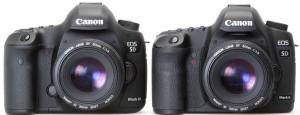 Сравнение Canon EOS 5D mark III и 5D mark II спереди