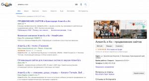 Информация об организации на выдаче Гугла