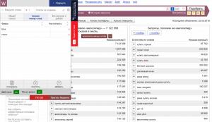 Просмотреть списки выбранных поисковых фраз и минус-слов