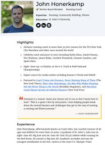 Фрагмент страницы автора-рецензента на сайте www.verywellfit.com