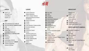 Пример подобной страницы на сайте H&M