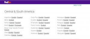 Сайт FedEx для большинства стран предлагает английский язык, но есть и регионы с несколькими языками