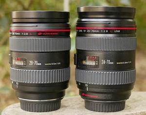 Canon EF 28-70 f/2.8L USM и Canon EF 24-70 f/2.8L USM на максимальном зуме