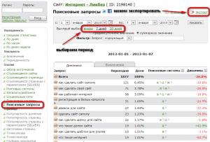 Поисковые запросы сайта в отчете HotLog.ru