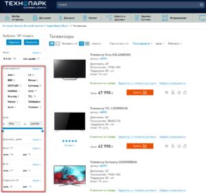 Проработка seo-фильтров в сайдбаре на сайте Технопарк